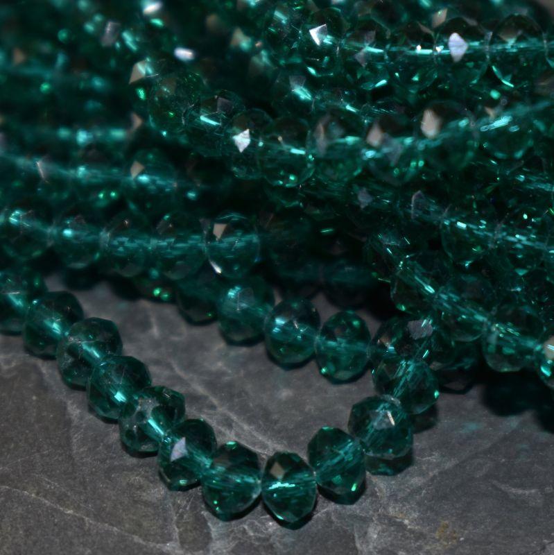 broušený korálek rondelka 4x3 mm - zelená tm. - 20 ks