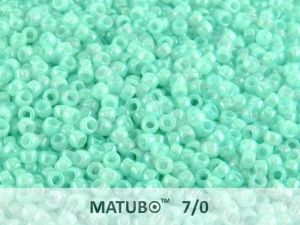 Mačkaný rokajl Matubo 7/0 - sv. zelený s listrem - 5g