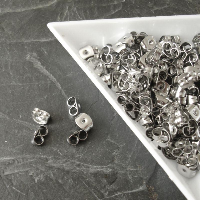 Náušnicové zarážky 4,5x6,5mm - nerezová ocel 304 - 10 ks