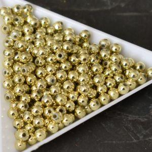 *Plastové korálky 4mm - zlaté - 100 ks
