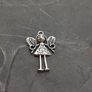 Přívěsek anděl 36x24 mm, kytičky - starostříbrný - 1 ks
