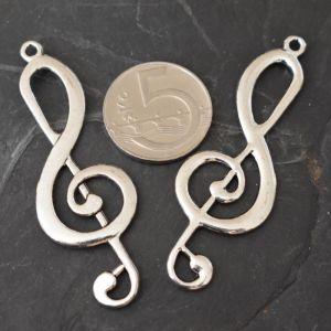 Přívěsek houslový klíč 60x21 mm - starostříbrný - 1 ks