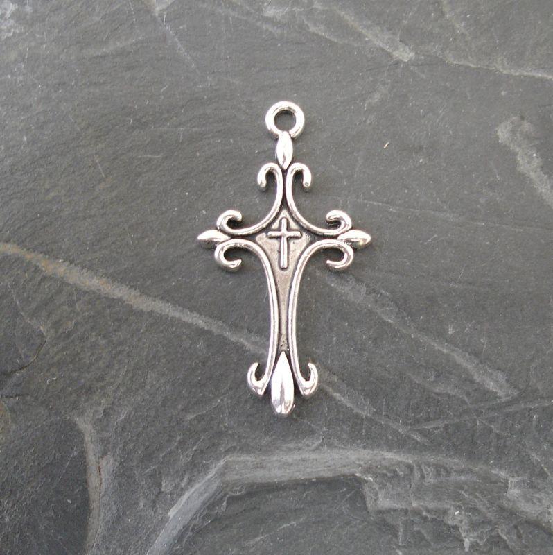Přívěsek křížek 18x33x2 mm - starostříbrný - 1 ks