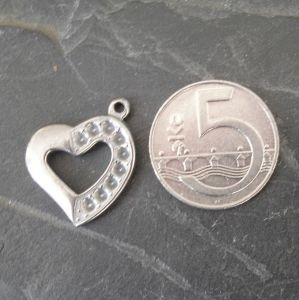 Přívěsek srdce 23x20x3mm - StS304 - 1 ks