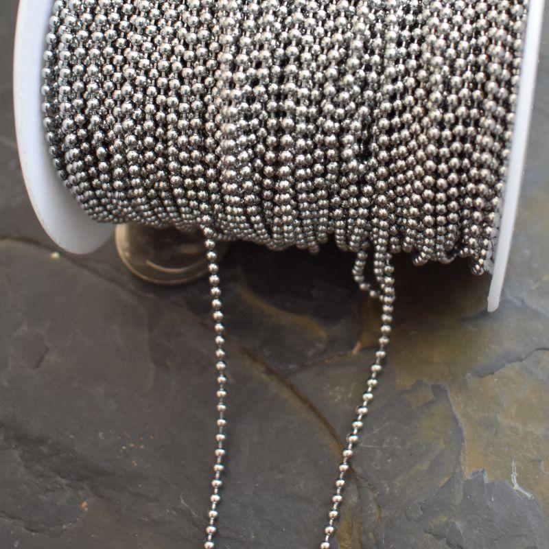 Řetízek kuličkový 2mm - nerezová ocel 304 (Stainless Steel) - 1 m