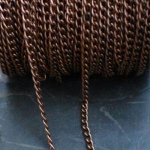 Řetízek twist cca 6x4mm - staroměděný - 1 m