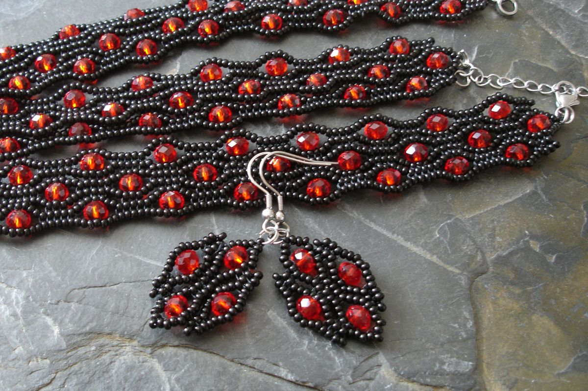 Sada River - náušnice, náramek a náhrdelník - černo-červená - 1 sada Jelínková Martina