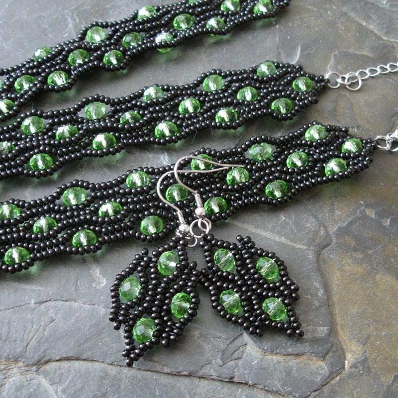 Sada River - náušnice, náramek a náhrdelník - černo-zelená - 1 sada Jelínková Martina