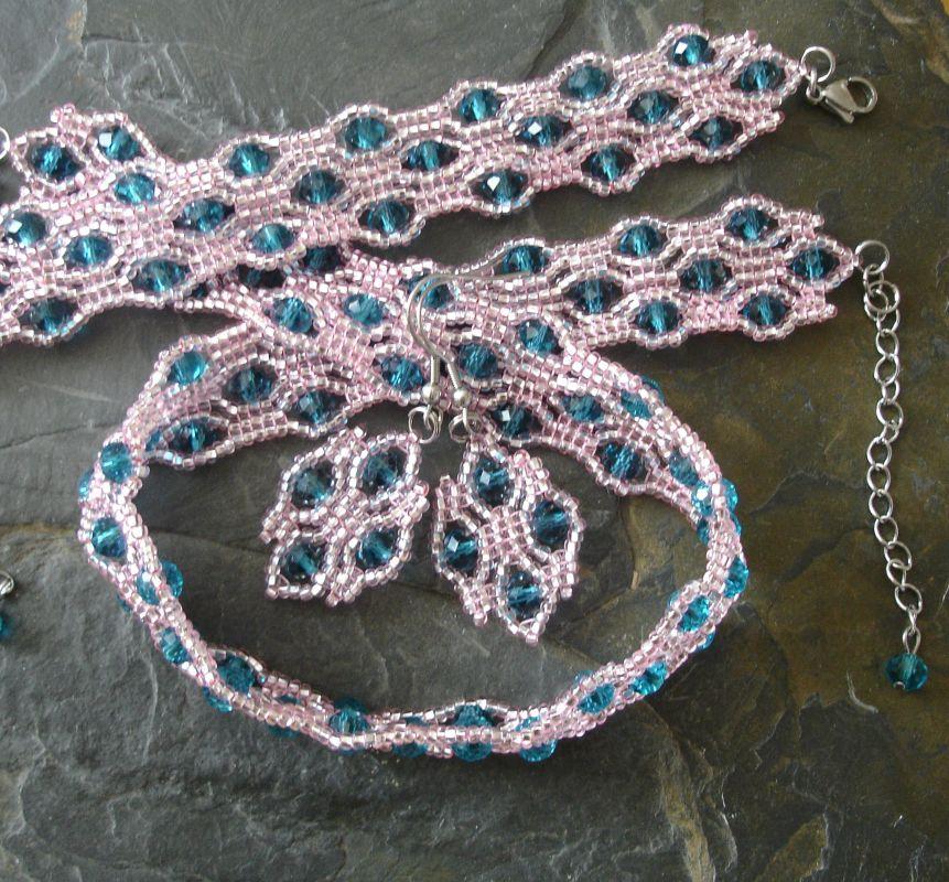 Sada River - náušnice, náramek a náhrdelník - růžovo-modrozelená - 1 sada Jelínková Martina