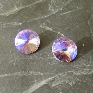 Skleněný broušený kamínek 12mm - Lavender - 1 ks