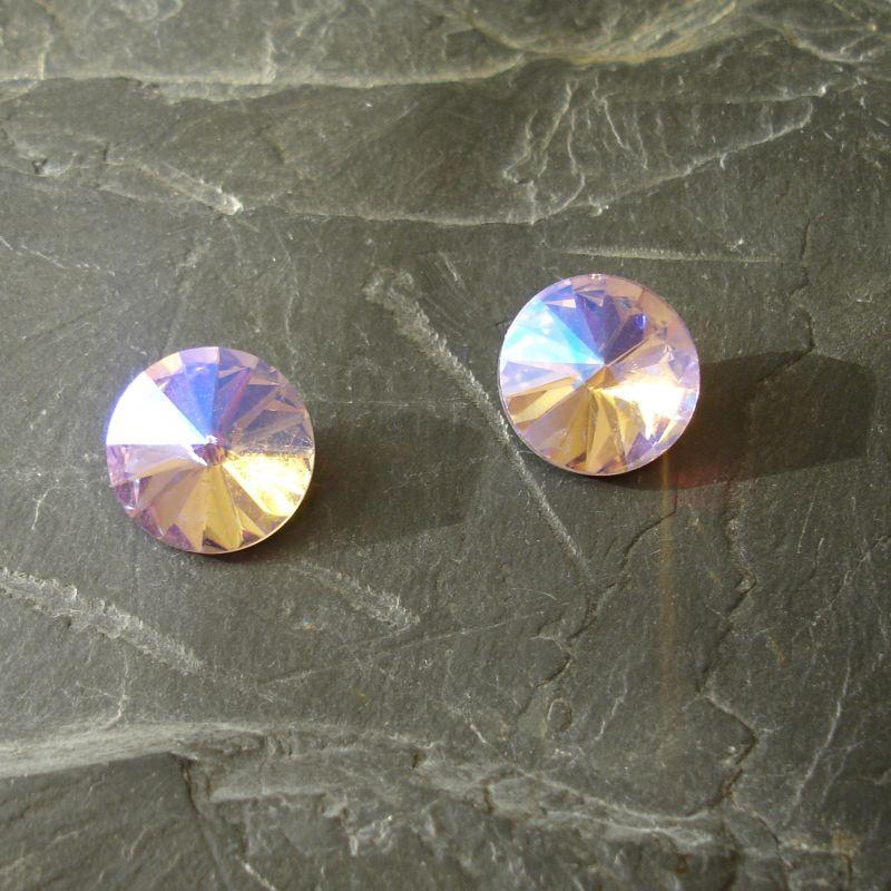Skleněný broušený kamínek rivoli 12mm - PearlPink - 1 ks