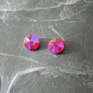 Skleněný broušený kamínek 12mm - Red
