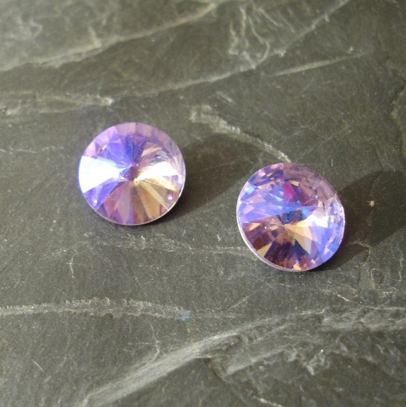 Skleněný broušený kamínek rivoli 14mm - Lavender - ks
