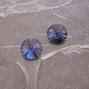 Skleněný broušený kamínek 14mm - modrý - 1 ks