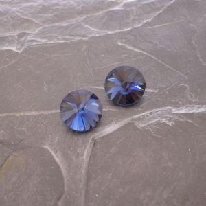Skleněný broušený kamínek rivoli 14mm - modrý - 1 ks