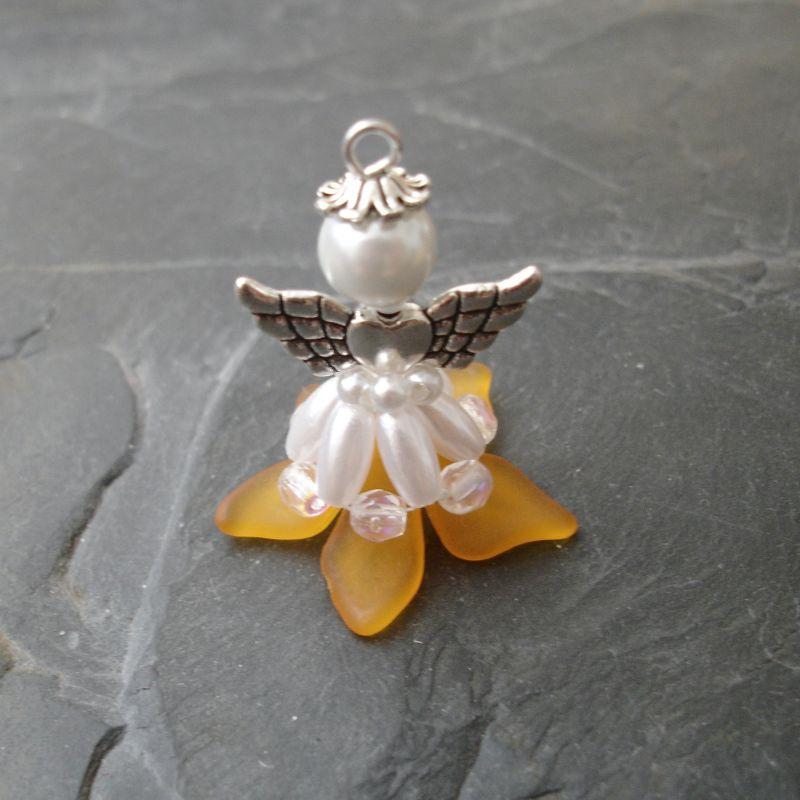 Velký andílek pro štěstí - oranžový - 1 ks Jelínková Martina