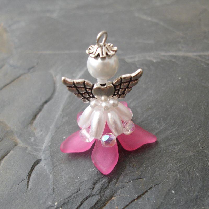 Velký andílek pro štěstí - tmavě růžový - 1 ks Jelínková Martina