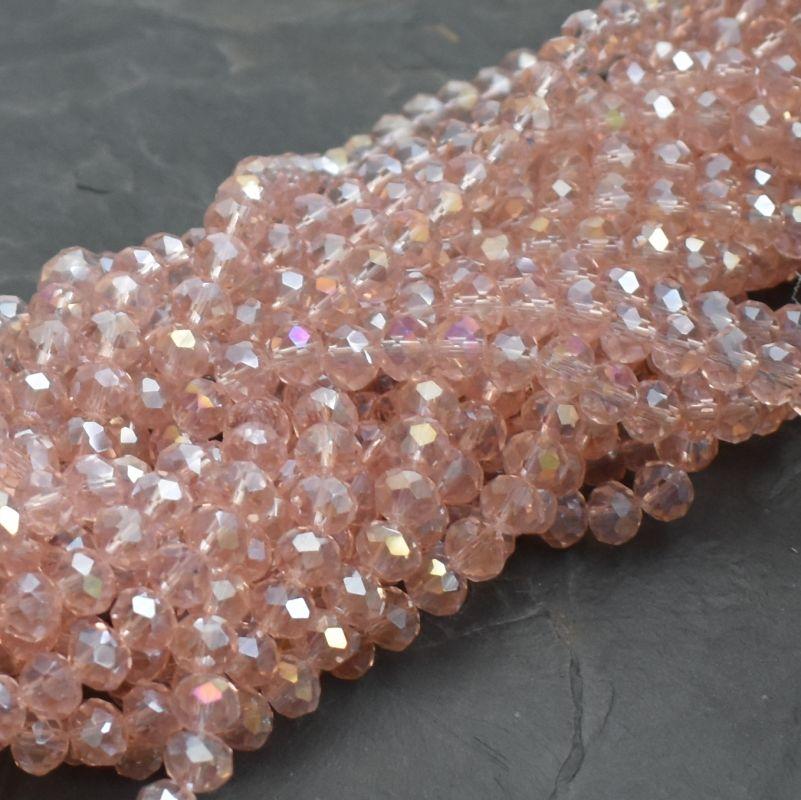 broušený korálek rondelka 8x5 mm - růžový s listrem AB