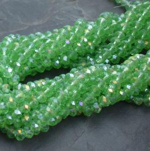 broušený korálek rondelka 8x5 mm - světle zelený s listrem AB | 10 ks, 100 ks