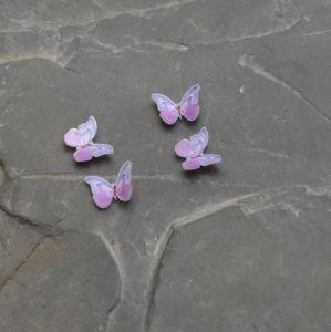kabošon plastový motýlek 8x11x2,5mm - fialový   2 ks, 20 ks