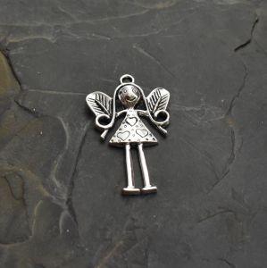 Velký přívěsek andělka 57x37x6mm - starostříbrný - 1 ks