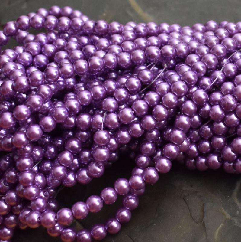 Voskované kuličky cca 6mm - fialové